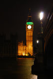 Big Ben at night. With clear sky and color Royalty Free Stock Images