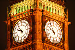 Big Ben at night. Night  image of the illuminated clock face of Big Ben of the Houses Of Parliament in Westminster, London, England, UK which was built on the Stock Image