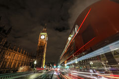 Big Ben at night with a light trails. Big Ben and London bus at Westminster Bridge Royalty Free Stock Images