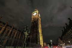 Big Ben at night with a light trails. Big Ben and London bus at Westminster Bridge Stock Images