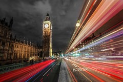 Big Ben at night with a light trails. Big Ben and London bus at Westminster Bridge Stock Photo