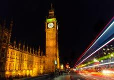 Big Ben at night London. Big Ben at night in the summer night and light flares Royalty Free Stock Photos