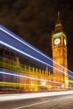 Big Ben at night in London. Big Ben and night traffic on Westminster Bridge Stock Photos