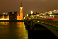 The Big Ben at night. London. view of Westminster Bridge and Houses of Parliament with Thames river Stock Images