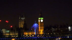 The Big Ben at night time stock footage