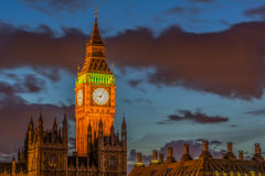 Big Ben. The Big Ben at night, and 2 tower of The palace of Westminister Stock Photo
