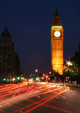 Big Ben night traffic stock photography