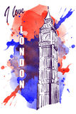 Big Ben no ponto vermelho-azul da aquarela Imagens de Stock Royalty Free