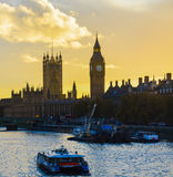 Big Ben no por do sol Imagem de Stock