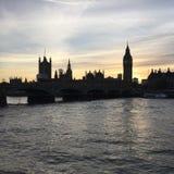 Big Ben no por do sol fotografia de stock