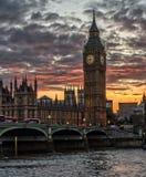 Big Ben no por do sol Imagem de Stock