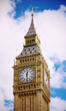 Big Ben Nostalgy. Big Ben with fluffy white clouds and blue sky royalty free stock photo