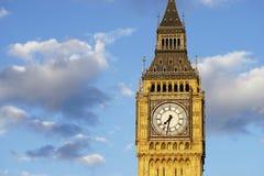 Big Ben, oben geschlossen, bei Sonnenuntergang Lizenzfreie Stockfotografie