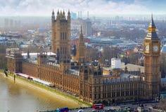 Big Ben och hus av parlamentet, London, UK Fotografering för Bildbyråer