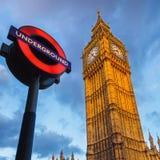 Big Ben och Undergraund Royaltyfria Bilder