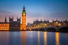 Big Ben och westminster bro, London Arkivfoto