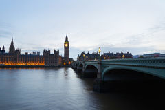 Big Ben and Palace of Westminster at dusk in London Stock Photos