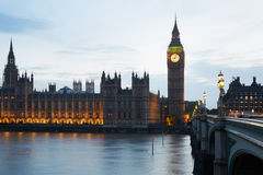 Big Ben and Palace of Westminster at dusk in London Stock Image