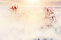 Big Ben, the Palace of Westminster in fog. London, UK. Royalty Free Stock Photos