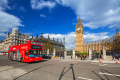 Big Ben and the Palace of Westminster in London. LONDON, ENGLAND - May 14, 2016: Big Ben and the Palace of Westminster in London, UK. The Palace of Westminster Royalty Free Stock Photography