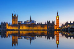 Big Ben and Palace of Westminster in London at night Stock Photos