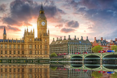 Big Ben and the Palace of Westminster in London, UK Royalty Free Stock Photo