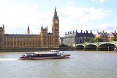Big Ben, Palace of Westminster, Westminster Bridge, River Thames in London, England, Europe Stock Images