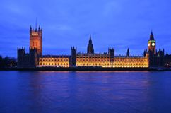 Big Ben and Parliament. Big Ben and House of Parliament at twilight Stock Photos