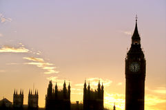 Big Ben & Parliament- London. Big Ben (Clock Tower) of Parliament silhouetted at sunset- London, England Stock Image