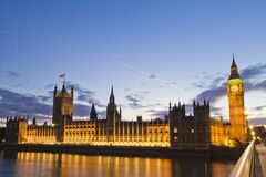 Big Ben and Parliament, London, England at night Stock Photos