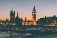 Big Ben and Parliament, London, England at sunset Stock Photos