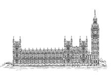 Big Ben and Parliament, London. Sketch collection Royalty Free Stock Image
