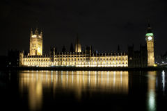 The Big Ben and the Parliament at night Stock Images