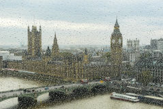 Big Ben and parliament through the wet window Royalty Free Stock Photos