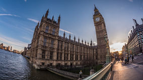 The Big Ben and part of the House of Parliament in London at sunset Royalty Free Stock Image