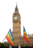 Big Ben with Peace protest flags in foreground Stock Photo