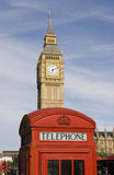 Big Ben and phone-booth. Big Ben behind a typical English phonebooth stock image
