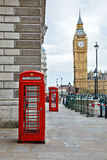 Big Ben and phone booths. In London Stock Photography
