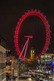 Big Ben przez Londyńskiego oka nocą Zdjęcia Stock