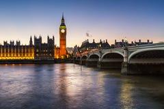 Big Ben, Queen Elizabeth Tower and Wesminster Bridge Stock Photos