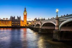 Big Ben, Queen Elizabeth Tower and Wesminster Bridge royalty free stock image
