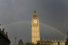 Big Ben with Rainbow Royalty Free Stock Photography