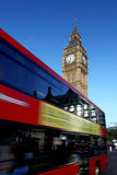 Big Ben with red bus in London, UK. Big Ben with double decker, London, UK Stock Photo