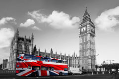 Big Ben with red bus in London, UK Stock Images