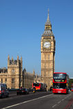 Big Ben with red bus in London, UK Royalty Free Stock Image