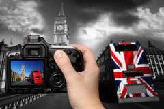 Big Ben with red bus in London, UK. Big Ben with double decker, London, UK Royalty Free Stock Photography
