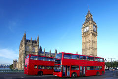 Big Ben with red bus in London, UK stock image