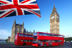Big Ben with red bus in London, UK Stock Photo