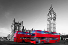 Big Ben with red bus in London, UK Stock Photography