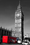 Big Ben with red bus in London, UK. Big Ben with double decker  in London,  England Royalty Free Stock Photography